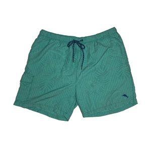 Tommy Bahama Teal Tropical Leaves Print Swim Short